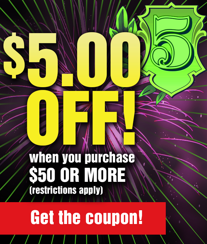 Get $5 Off Your Purchase of $50 or More When you Print and Present this Coupon